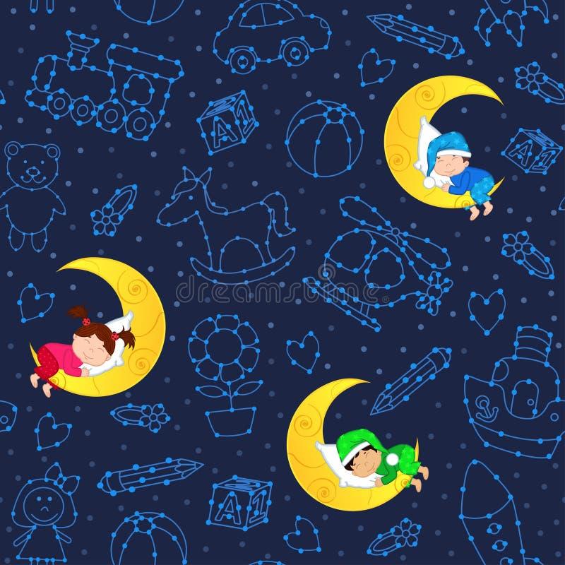 Άνευ ραφής σχέδιο με τα παιδιά που κοιμούνται στο φεγγάρι μεταξύ των αστεριών απεικόνιση αποθεμάτων