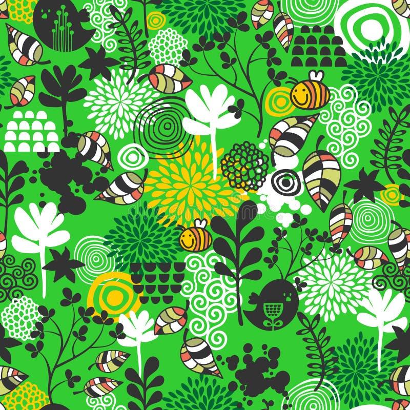 Άνευ ραφής σχέδιο με τα πουλιά και τις μέλισσες. ελεύθερη απεικόνιση δικαιώματος