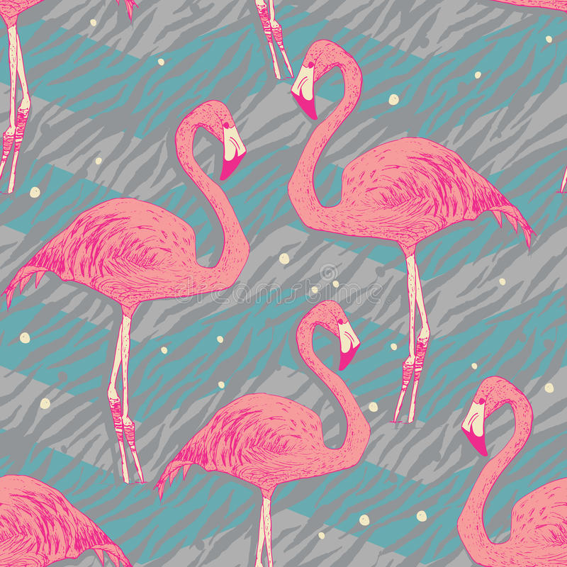 Άνευ ραφής σχέδιο με τα πουλιά φλαμίγκο διανυσματική απεικόνιση