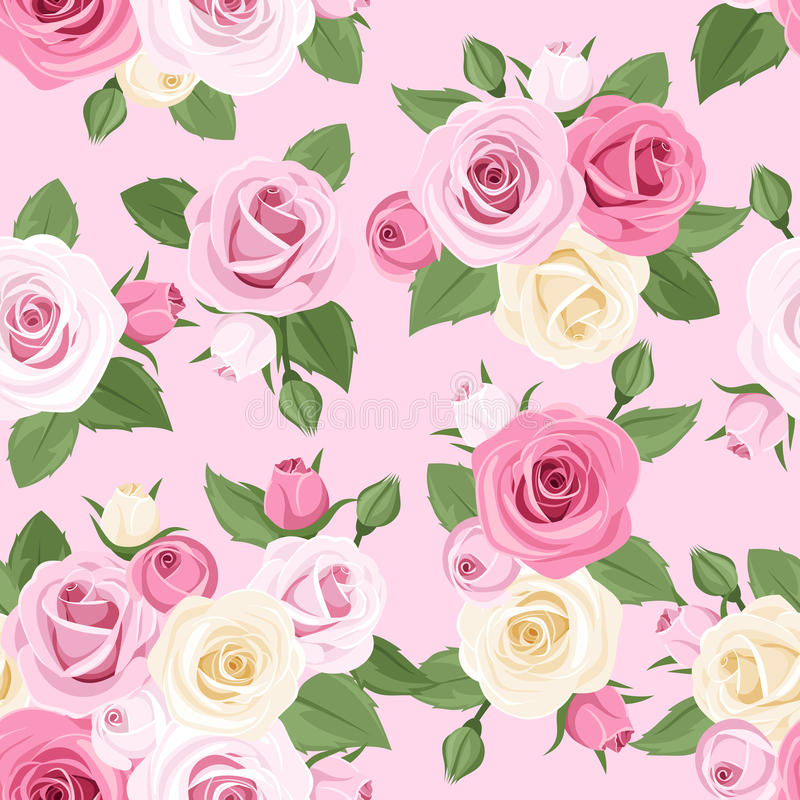 Άνευ ραφής σχέδιο με τα ρόδινα και άσπρα τριαντάφυλλα σε ένα ρόδινο υπόβαθρο. διανυσματική απεικόνιση