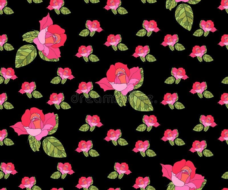 Άνευ ραφής σχέδιο με τα ρόδινα τριαντάφυλλα στο μαύρο υπόβαθρο αναδρομικό ύφος απεικόνιση αποθεμάτων