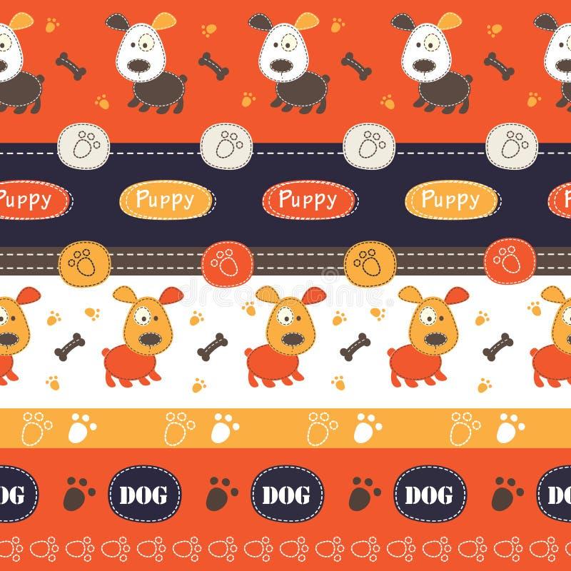 Άνευ ραφής σχέδιο με τα σκυλιά, τα πόδια, τα κόκκαλα και την εγγραφή απεικόνιση αποθεμάτων