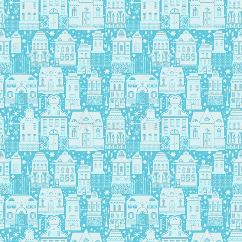 Άνευ ραφής σχέδιο με τα σπίτια παραμυθιού, φανάρια ελεύθερη απεικόνιση δικαιώματος