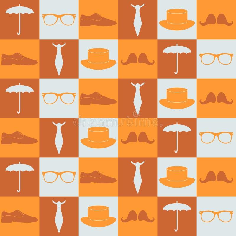 Άνευ ραφής σχέδιο με τα στοιχεία hipster απεικόνιση αποθεμάτων