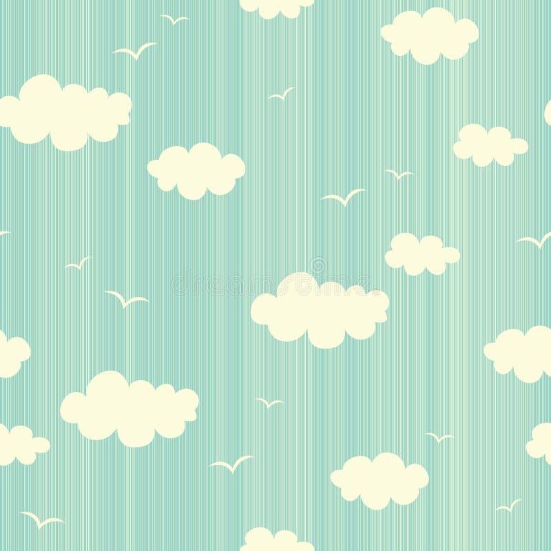 Άνευ ραφής σχέδιο με τα σύννεφα και τα πουλιά απεικόνιση αποθεμάτων