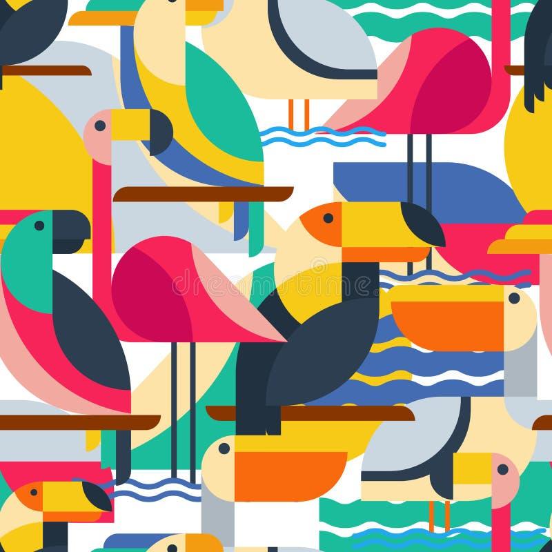 Άνευ ραφής σχέδιο με τα τροπικά πουλιά ελεύθερη απεικόνιση δικαιώματος