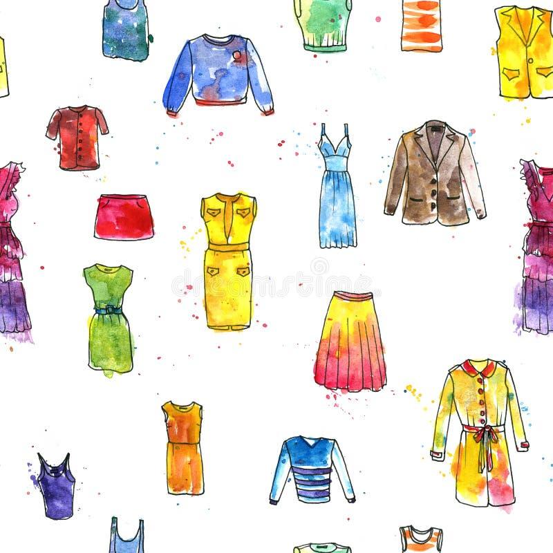 Άνευ ραφής σχέδιο με τα φορέματα γυναικών ` s σχεδίων watercolor διανυσματική απεικόνιση