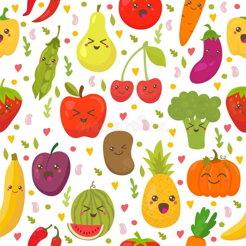 Άνευ ραφής σχέδιο με τα φρέσκα λαχανικά και τα φρούτα απεικόνιση αποθεμάτων