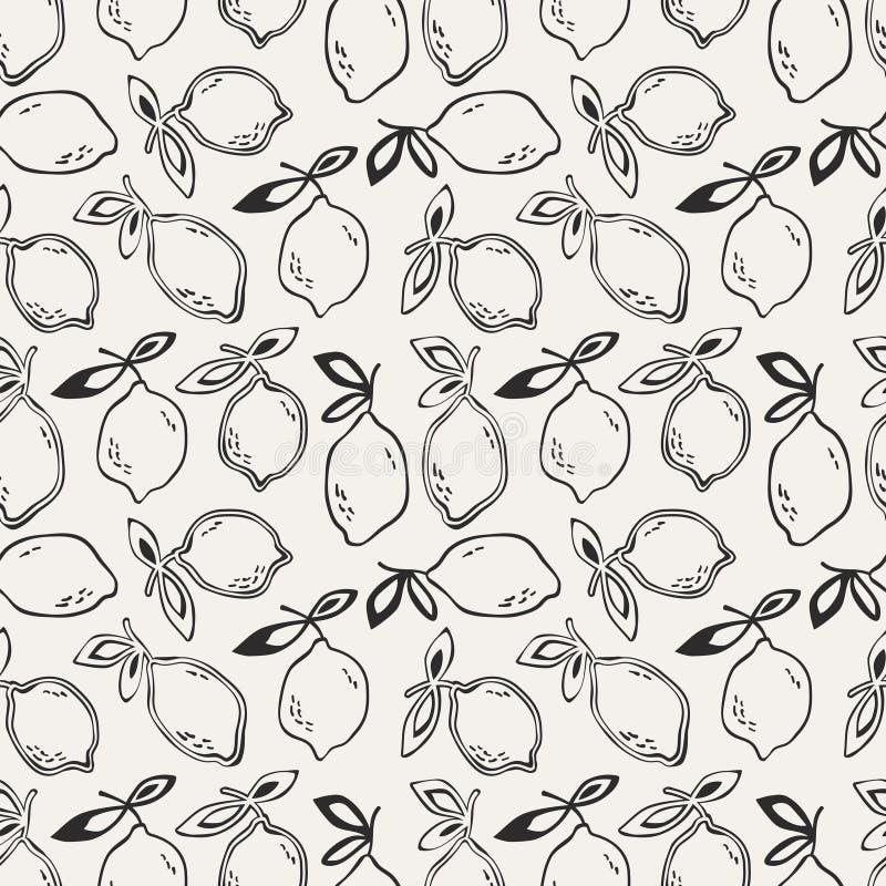 Άνευ ραφής σχέδιο με τα φρούτα λεμονιών διανυσματική απεικόνιση