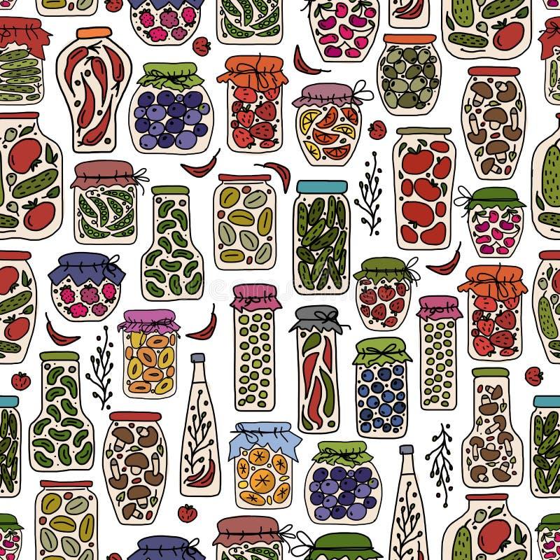 Άνευ ραφής σχέδιο με τα φρούτα και λαχανικά βάζων τουρσιών διανυσματική απεικόνιση