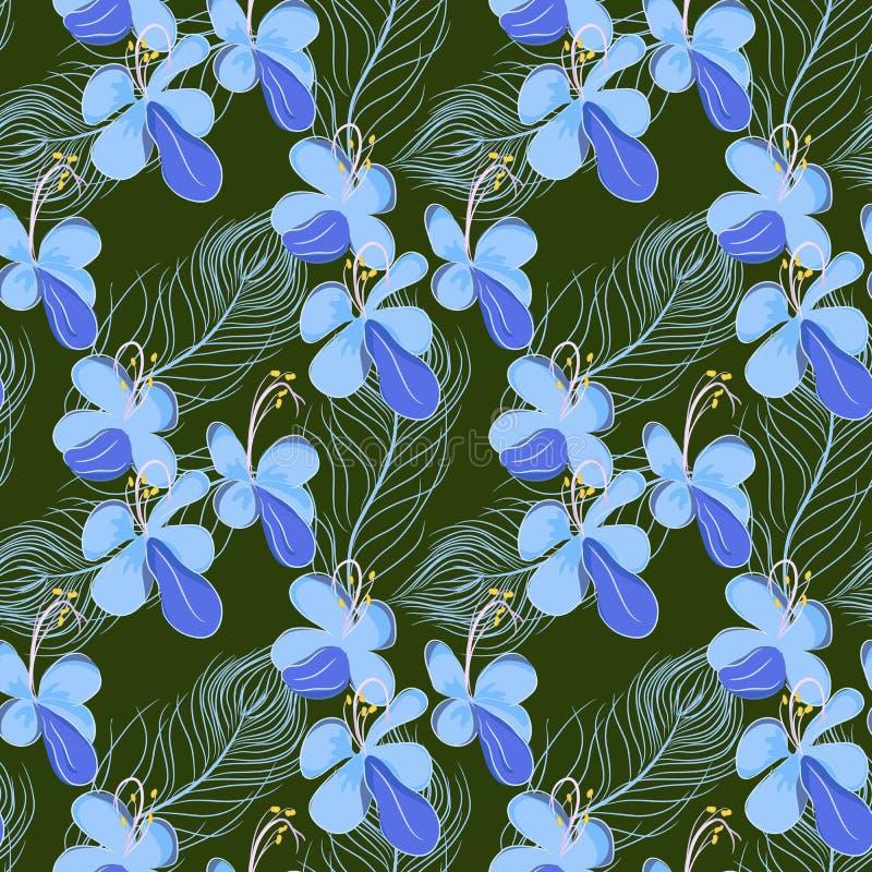 Άνευ ραφής σχέδιο με τα φτερά και τα λουλούδια ελεύθερη απεικόνιση δικαιώματος