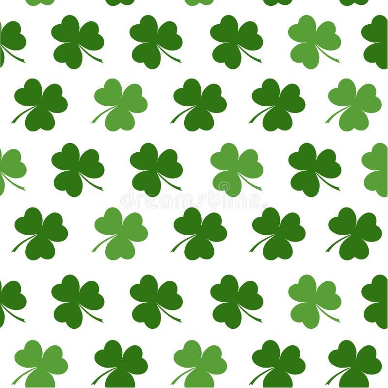Άνευ ραφής σχέδιο με τα φύλλα τριφυλλιών για το σχέδιο των στοιχείων ημέρας του ST Patricks απεικόνιση αποθεμάτων