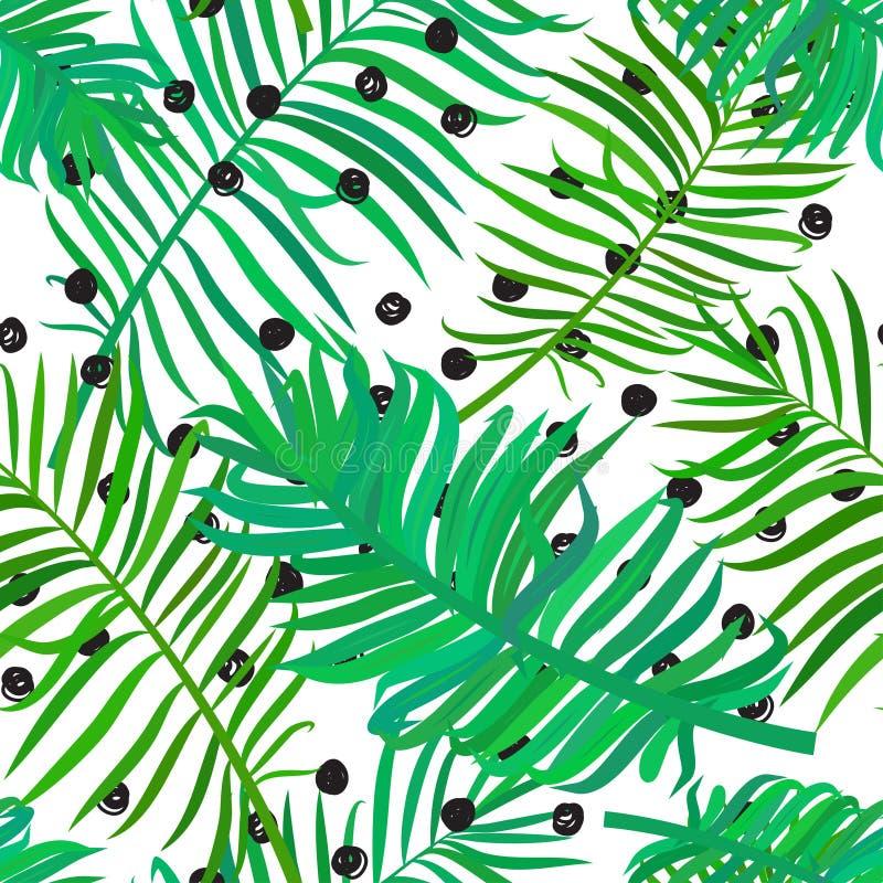 Άνευ ραφής σχέδιο με τα φύλλα φοινικών απεικόνιση αποθεμάτων
