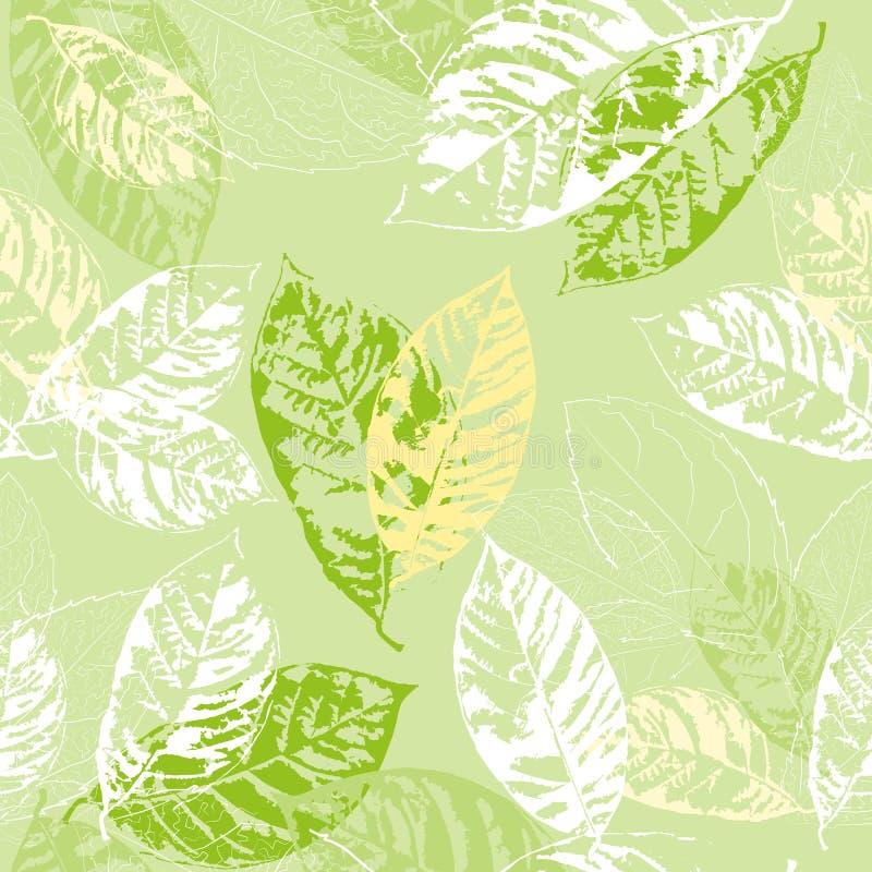 Άνευ ραφής σχέδιο με τα φύλλα ελεύθερη απεικόνιση δικαιώματος