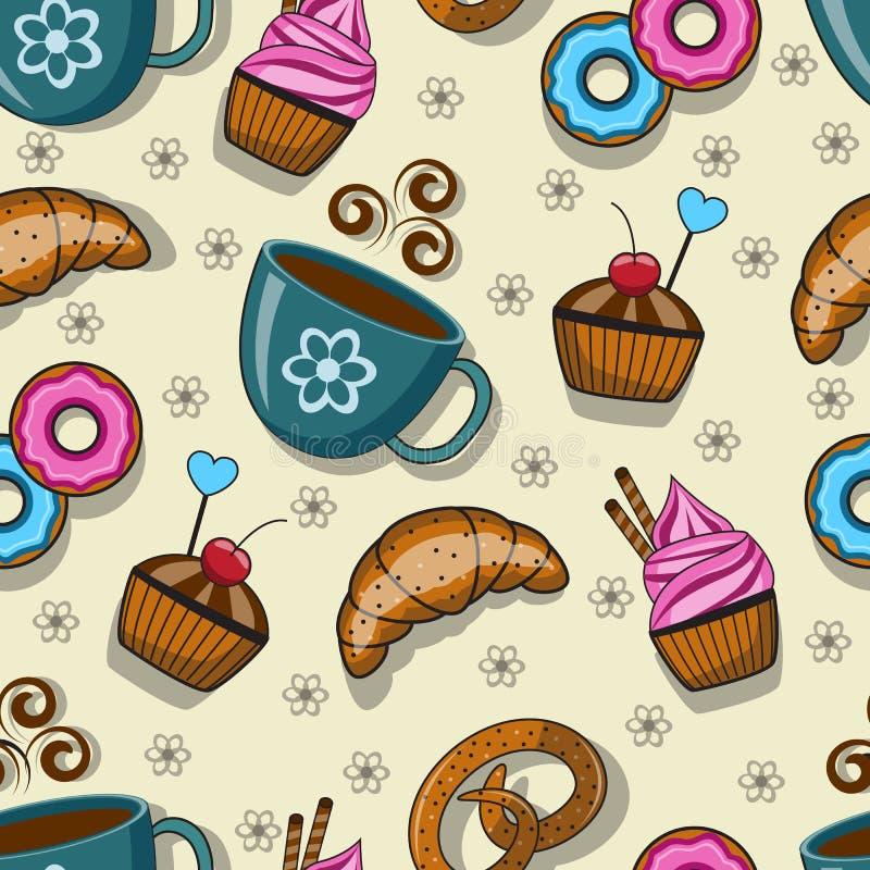 Άνευ ραφής σχέδιο με τα φλυτζάνια και τα γλυκά απεικόνιση αποθεμάτων