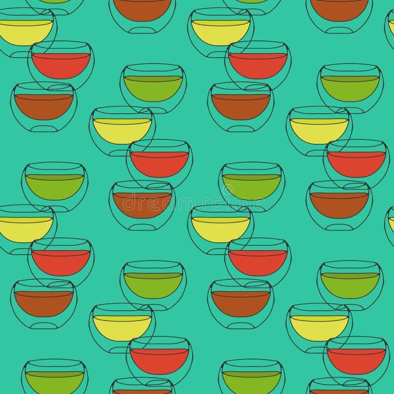Άνευ ραφής σχέδιο με τα φλυτζάνια του διπλασίου γυαλιού τσαγιού που περιτοιχίζεται σε ένα τυρκουάζ υπόβαθρο απεικόνιση αποθεμάτων