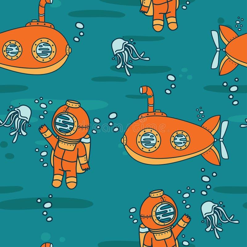 Άνευ ραφής σχέδιο με τα χαριτωμένους εκλεκτής ποιότητας υποβρύχια, τις μέδουσες και τους δύτες ελεύθερη απεικόνιση δικαιώματος