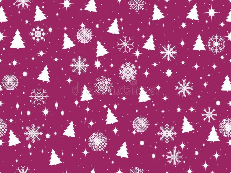 Άνευ ραφής σχέδιο με τα χριστουγεννιάτικα δέντρα και snowflakes κάλυψη παγωμένη διανυσματικός χειμώνας προτύπων διάνυσμα απεικόνιση αποθεμάτων