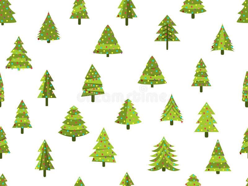Άνευ ραφής σχέδιο με τα χριστουγεννιάτικα δέντρα σε ένα επίπεδο ύφος διακοσμημένο Χριστούγεν& διάνυσμα ελεύθερη απεικόνιση δικαιώματος