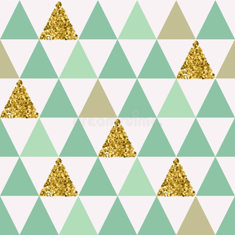 Άνευ ραφής σχέδιο με τα χρυσά τρίγωνα ελεύθερη απεικόνιση δικαιώματος