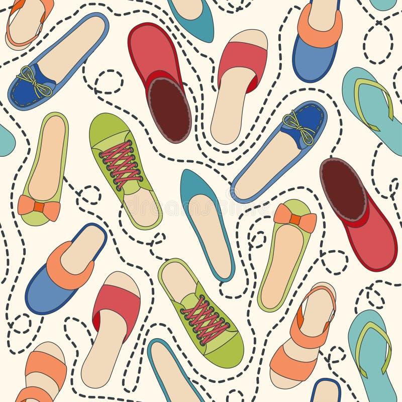 Άνευ ραφής σχέδιο με τα χρωματισμένα παπούτσια και ορμημένος διανυσματική απεικόνιση