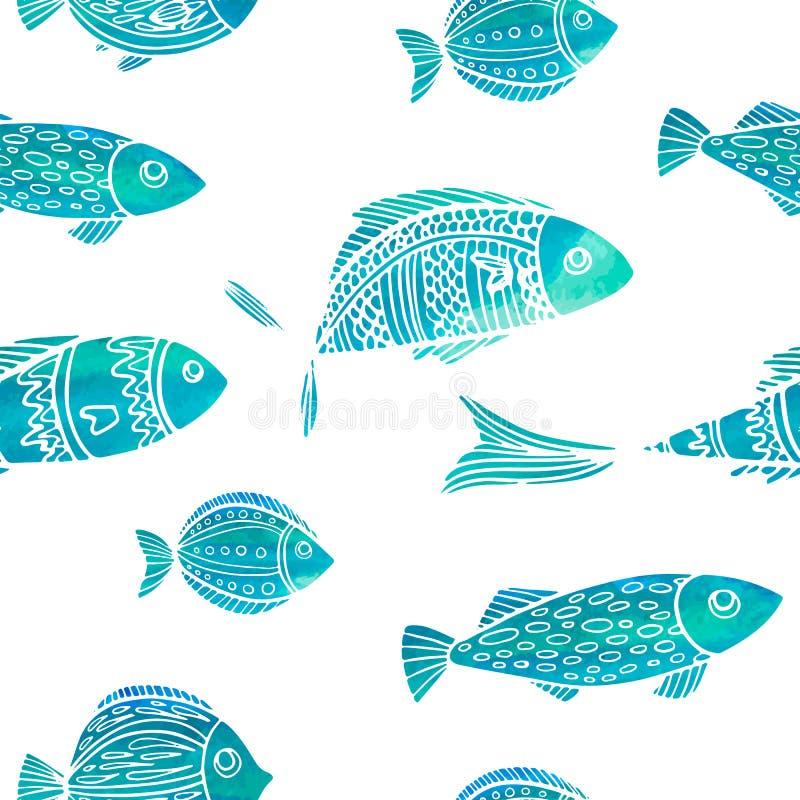 Άνευ ραφής σχέδιο με τα ψάρια watercolor doodle διανυσματική απεικόνιση