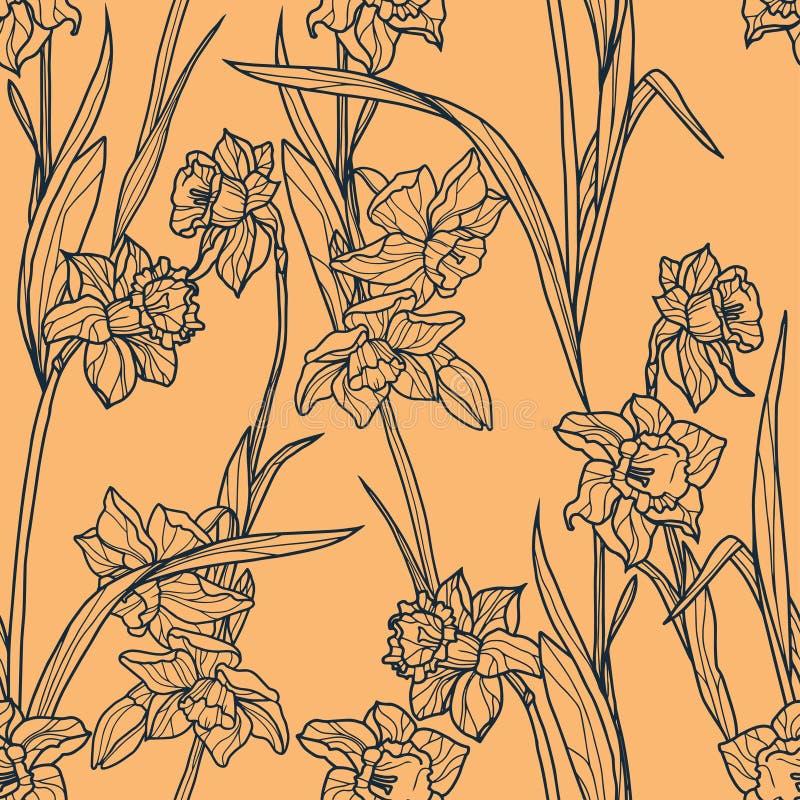 Άνευ ραφής σχέδιο με τα όμορφα λουλούδια ναρκίσσων στο ύφος μωσαϊκών διανυσματική απεικόνιση