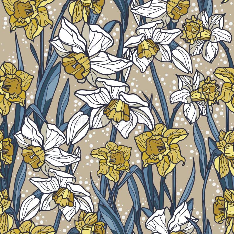 Άνευ ραφής σχέδιο με τα όμορφα λουλούδια ναρκίσσων στο ύφος μωσαϊκών απεικόνιση αποθεμάτων