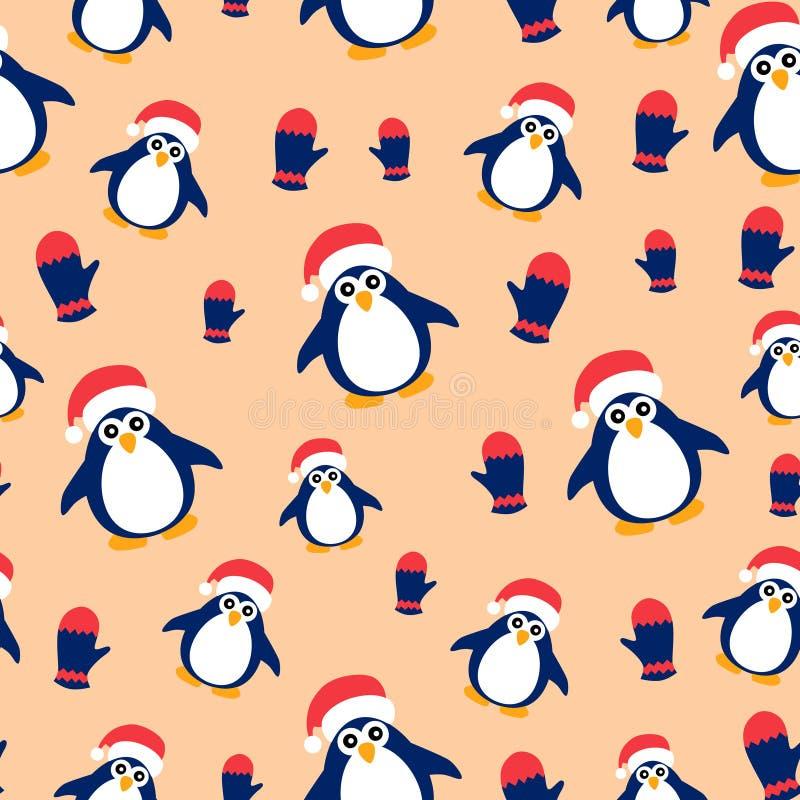 Άνευ ραφής σχέδιο με τα penguins σε ένα υπόβαθρο ροδάκινων διανυσματική απεικόνιση