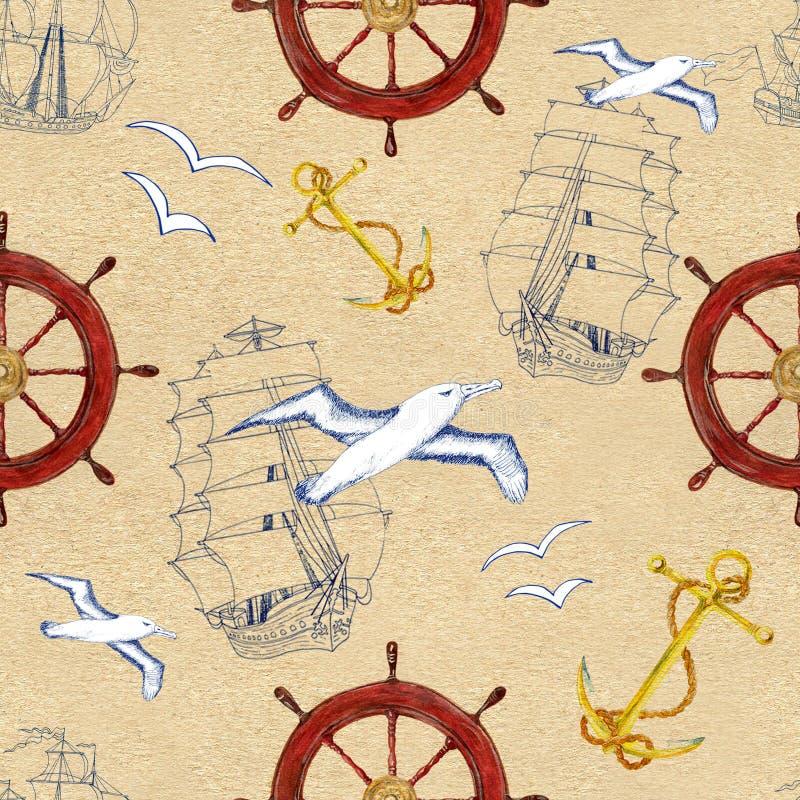 Άνευ ραφής σχέδιο με την άγκυρα σκαφών, το τιμόνι και το γλάρο ελεύθερη απεικόνιση δικαιώματος