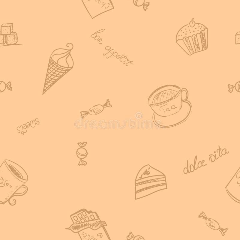 Άνευ ραφής σχέδιο με την εικόνα των γλυκών τροφίμων διανυσματική απεικόνιση
