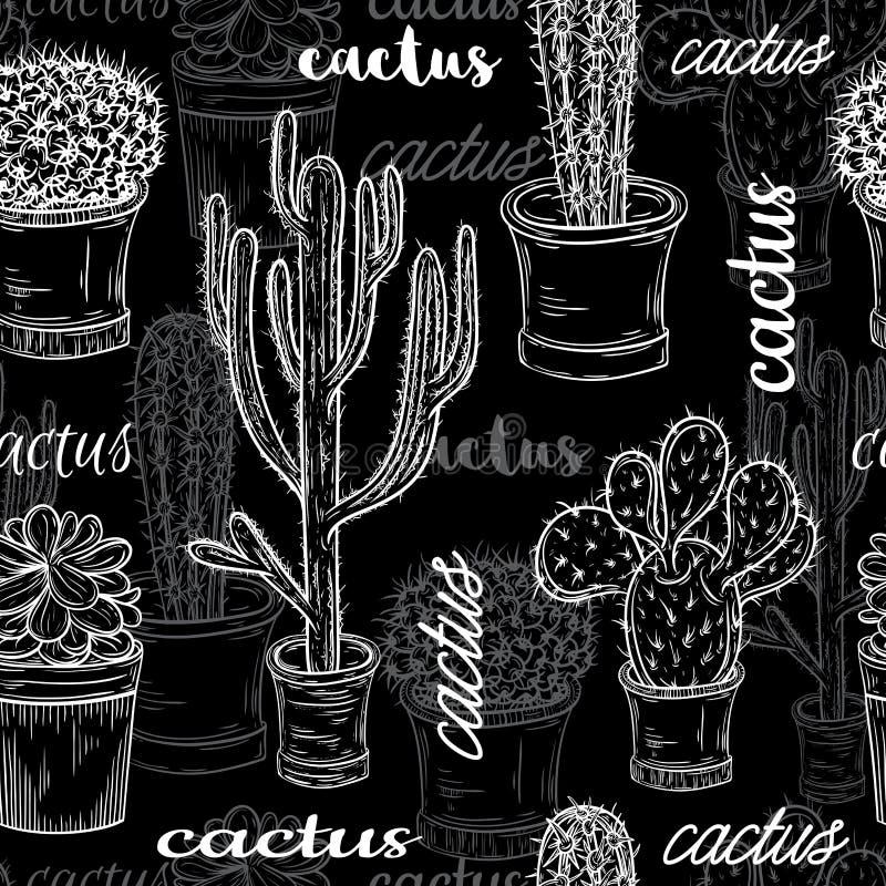 Download Άνευ ραφής σχέδιο με την επίπεδη γραπτή απεικόνιση πινάκων κιμωλίας των Succulent εγκαταστάσεων και των κάκτων στα δοχεία Διανυσματική απεικόνιση - εικονογραφία από κάκτος, συλλογή: 62717505
