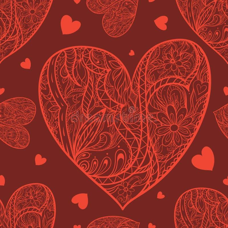 Άνευ ραφής σχέδιο με την καρδιά doodle απεικόνιση αποθεμάτων