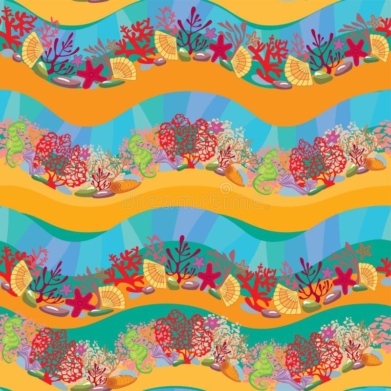 Άνευ ραφής σχέδιο με την κοραλλιογενή ύφαλο ελεύθερη απεικόνιση δικαιώματος
