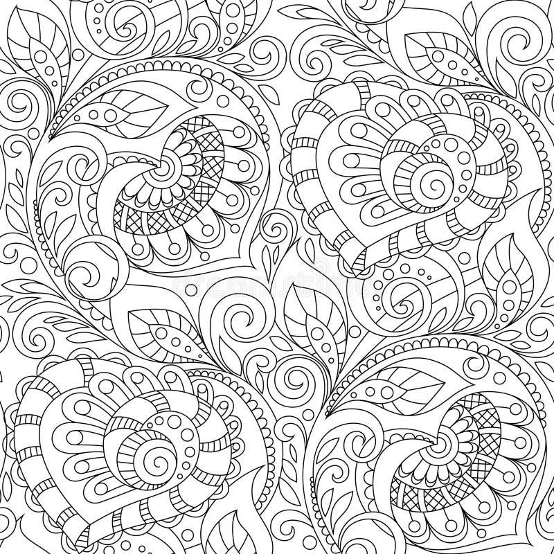 Άνευ ραφής σχέδιο με τη διακόσμηση καρδιών Floral διακοσμητικό σχέδιο στο ύφος zentangle Ενήλικη αντιαγχωτική χρωματίζοντας σελίδ διανυσματική απεικόνιση