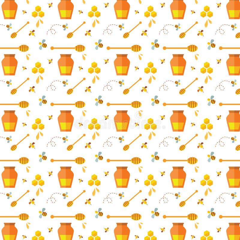 Άνευ ραφής σχέδιο με τη μέλισσα και το μέλι ελεύθερη απεικόνιση δικαιώματος