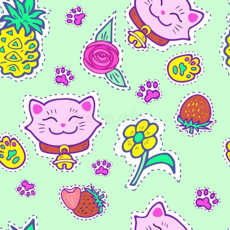 Άνευ ραφής σχέδιο με τη ρόδινη γάτα χαμόγελου διανυσματική απεικόνιση