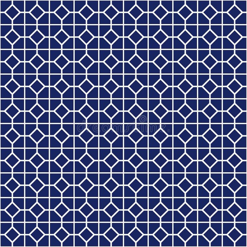 Άνευ ραφής σχέδιο με τη συμμετρική γεωμετρική διακόσμηση Αφηρημένο υπόβαθρο χρώματος ναυτικού απεικόνιση αποθεμάτων