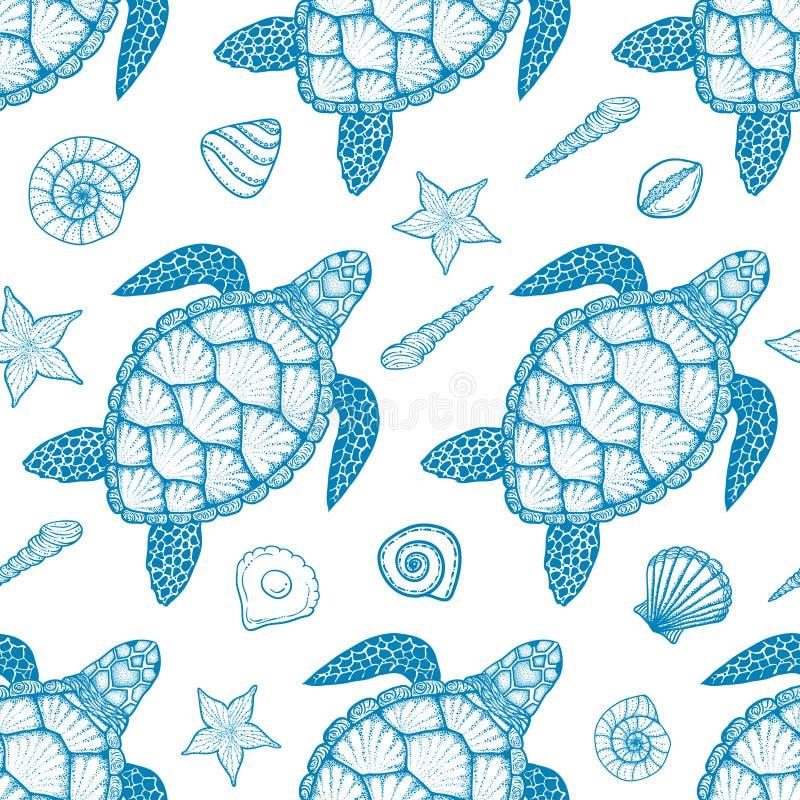 Άνευ ραφής σχέδιο με τη χελώνα θάλασσας και κοχύλια στο ύφος τέχνης γραμμών Συρμένη χέρι διανυσματική απεικόνιση Ωκεάνια στοιχεία απεικόνιση αποθεμάτων