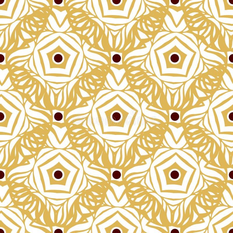 Άνευ ραφής σχέδιο με τη χρυσή εθνική διακόσμηση Ατελείωτη διακοσμητική σύσταση Μπορέστε να χρησιμοποιηθείτε για την ταπετσαρία, τ απεικόνιση αποθεμάτων