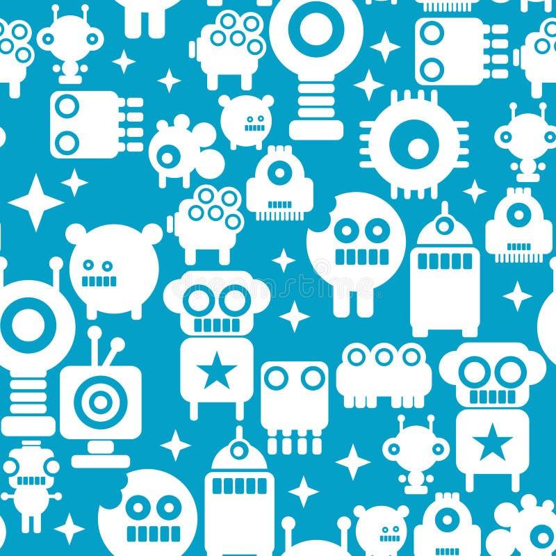 Άνευ ραφής σχέδιο με τις άσπρες σκιαγραφίες των ρομπότ στο μπλε υπόβαθρο ελεύθερη απεικόνιση δικαιώματος