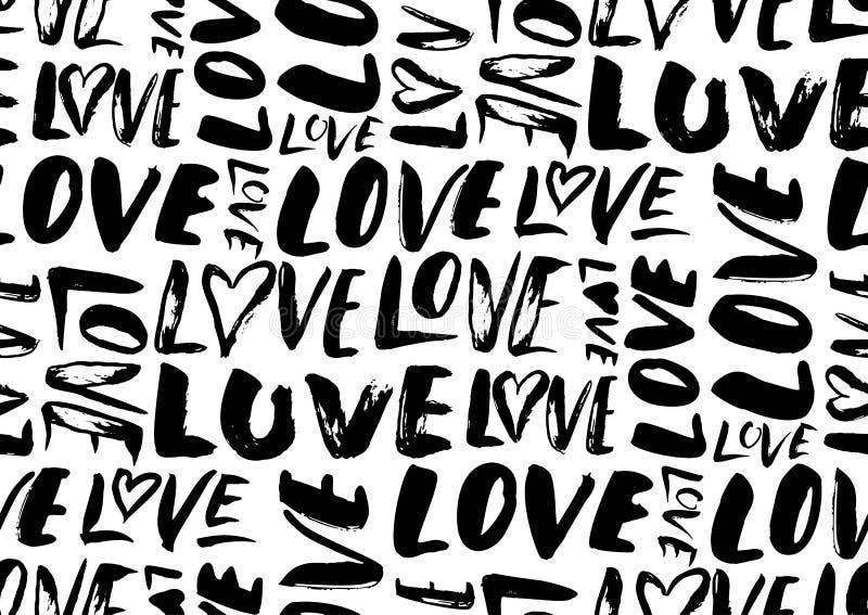 Άνευ ραφής σχέδιο με τις λέξεις αγάπης, καρδιές ελεύθερη απεικόνιση δικαιώματος