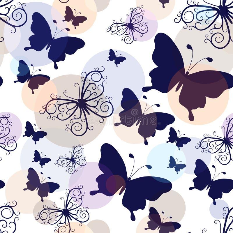Άνευ ραφής σχέδιο με τις γραφικές εκλεκτής ποιότητας πεταλούδες ελεύθερη απεικόνιση δικαιώματος