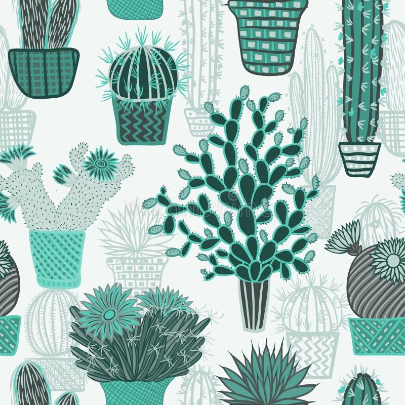 Άνευ ραφής σχέδιο με τις εγκαταστάσεις κάκτων succulents και κάκτοι στα δοχεία Διανυσματικό βοτανικό γραφικό σύνολο ελεύθερη απεικόνιση δικαιώματος