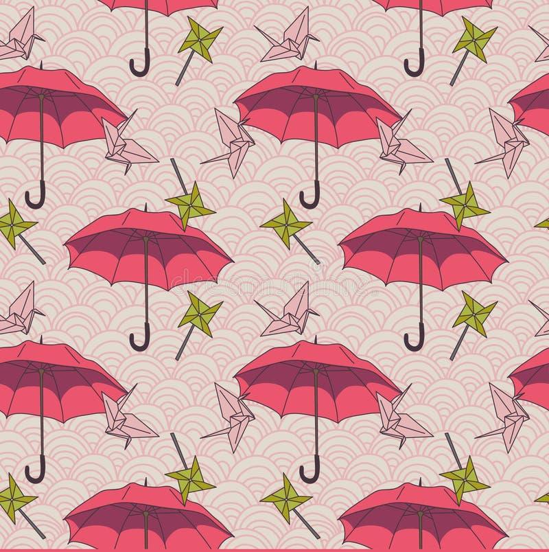 Άνευ ραφής σχέδιο με τις ζωηρόχρωμους ομπρέλες και τους γερανούς origami στο ασιατικό ύφος διανυσματική απεικόνιση