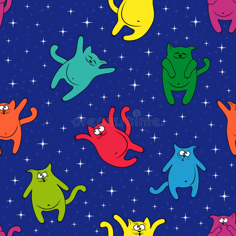 Άνευ ραφής σχέδιο με τις διασκεδάζοντας γάτες στον έναστρο ουρανό διανυσματική απεικόνιση