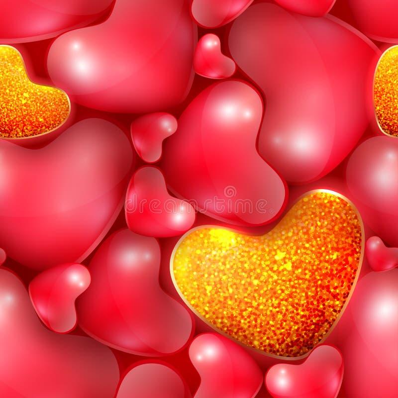Άνευ ραφής σχέδιο με τις διαφορετικές μεγέθους καρδιές στην ημέρα του ευτυχούς βαλεντίνου ελεύθερη απεικόνιση δικαιώματος