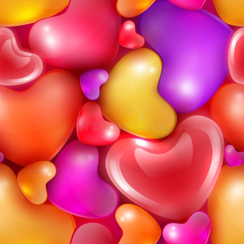 Άνευ ραφής σχέδιο με τις διαφορετικές μεγέθους καρδιές στην ημέρα του ευτυχούς βαλεντίνου διανυσματική απεικόνιση