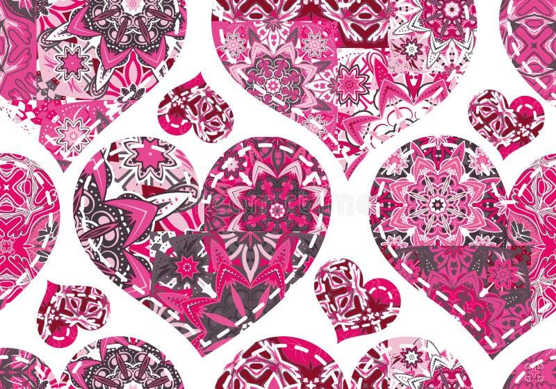 Άνευ ραφής σχέδιο με τις καρδιές συλλογής στο εκλεκτής ποιότητας ύφος προσθηκών διανυσματική απεικόνιση