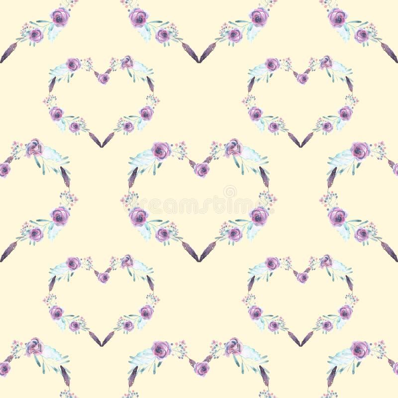 Άνευ ραφής σχέδιο με τις καρδιές watercolor των πορφυρών λουλουδιών διανυσματική απεικόνιση